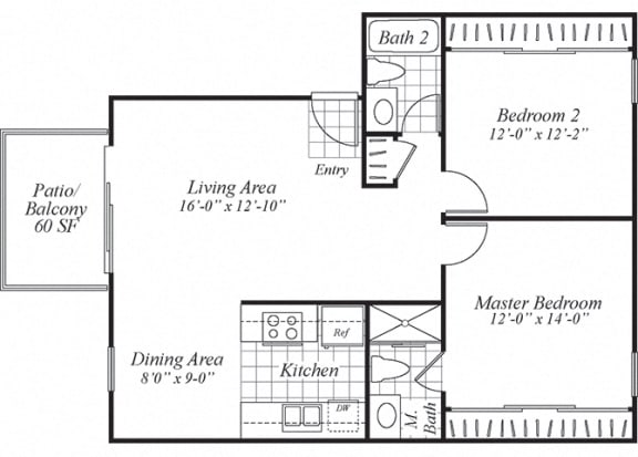 Floor Plan  Two bedroom two bathroom B2 floorplan at Turnleaf Apartments in San Jose, CA