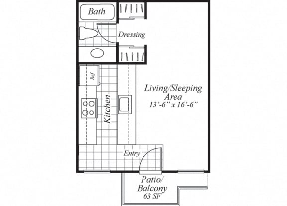 Floor Plan  Studio one bathroom floorplan at Turnleaf Apartments in San Jose, CA