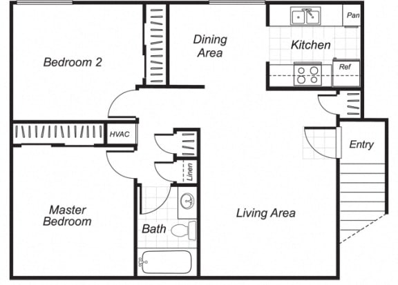Floor Plan  Two bedroom one bathroom B2 floorplan at Westchester Park Apartments in Tustin, CA