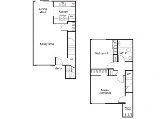 Floor Plan  Two bedroom one and a half bathroom B3 floorplan at Westchester Park Apartments in Tustin, CA
