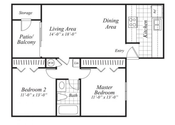 Floor Plan  Two bedroom one bathroom B1 floor plan at Canyon Rim Apartments in San Diego, CA
