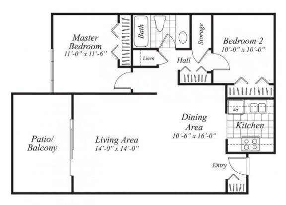 Floor Plan  Two bedroom one bathroom B3 floor plan at Canyon Rim Apartments in San Diego, CA