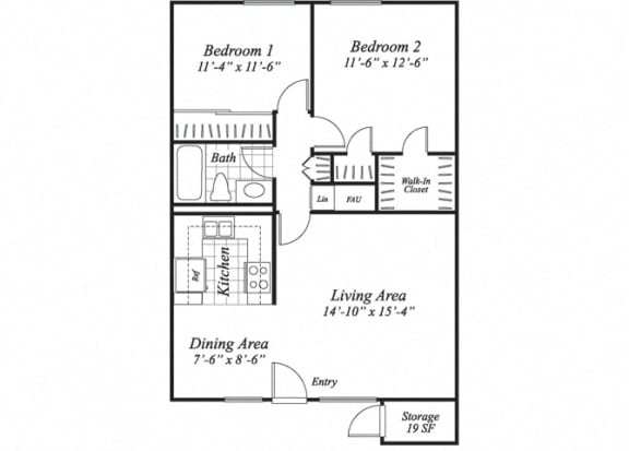 Floor Plan  Two bedroom one bathroom B1 floorplan at The Stratton Apartments in San Diego, CA