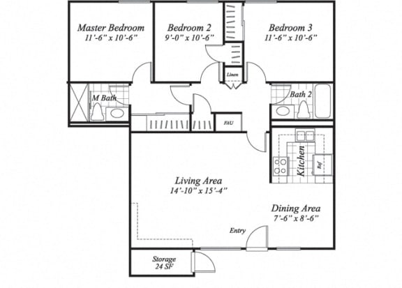 Floor Plan  Three bedroom two bathroom C1 floorplan at The Stratton Apartments in San Diego, CA