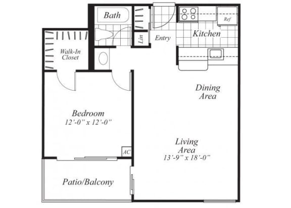 Floor Plan  One bedroom one bathroom A1 Floorplan at Ridgemoor Apartment Homes in Lakewood, CO
