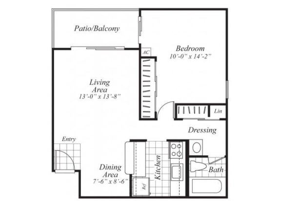 Floor Plan  One bedroom one bathroom A2 Floorplan at Ridgemoor Apartment Homes in Lakewood, CO