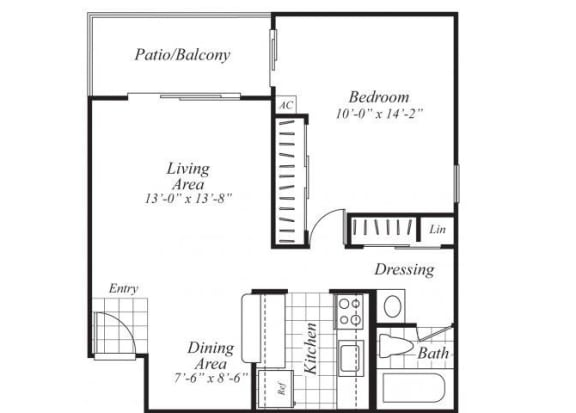 Floor Plan  One bedroom one bathroom A3 Floorplan at Ridgemoor Apartment Homes in Lakewood, CO