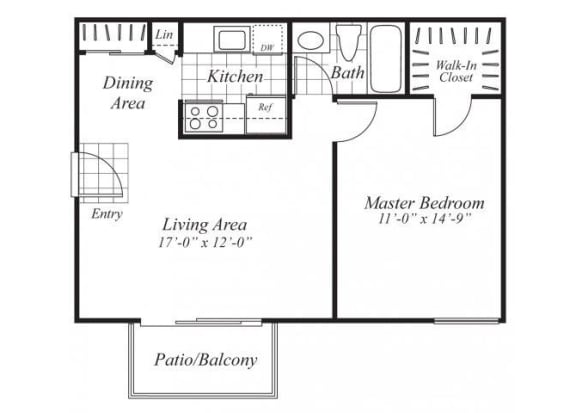 Floor Plan  One bedroom one bathroom A4 Floorplan at Ridgemoor Apartment Homes in Lakewood, CO
