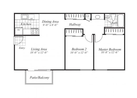 Floor Plan  Two bedroom one bathroom A5 Floorplan at Ridgemoor Apartment Homes in Lakewood, CO