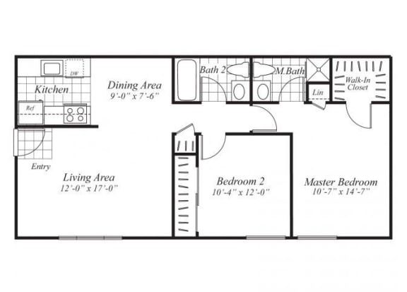 Floor Plan  Two bedroom two bathroom B2 Floorplan at Ridgemoor Apartment Homes in Lakewood, CO