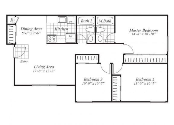 Floor Plan  Three bedroom two bathroom C1 Floorplan at Ridgemoor Apartment Homes in Lakewood, CO