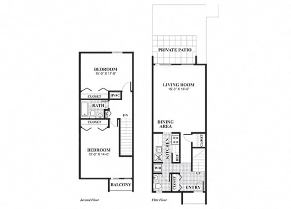 Floor Plan  Two bedroom one and a half bathroom Blackstone floorplan at University Heights Apartments in Providence, RI