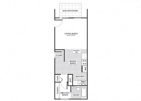 Floor Plan  Studio one bathroom Elmhurst floorplan at University Heights Apartments in Providence, RI