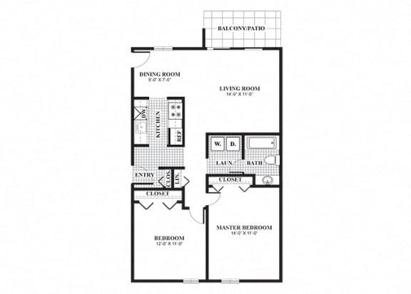 Floor Plan  Two bedroom one bathroom Thayer B floorplan at University Heights Apartments in Providence, RI