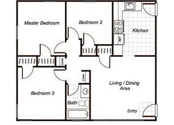 Floor Plan  Three bedroom one bathroom C1 floorplan at Sutterfield Apartments in Providence, RI