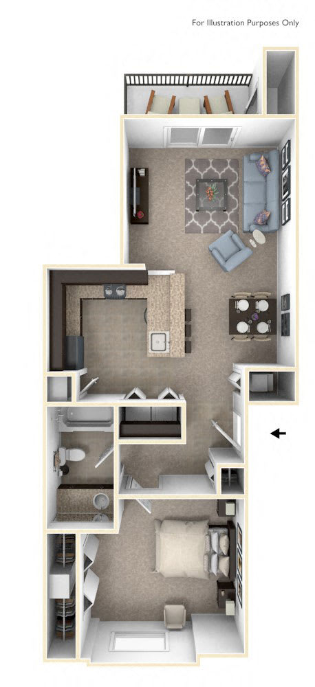 One Bedroom One Bath Floorplan at Copper Creek Apartment Homes, Maize, KS, 67101