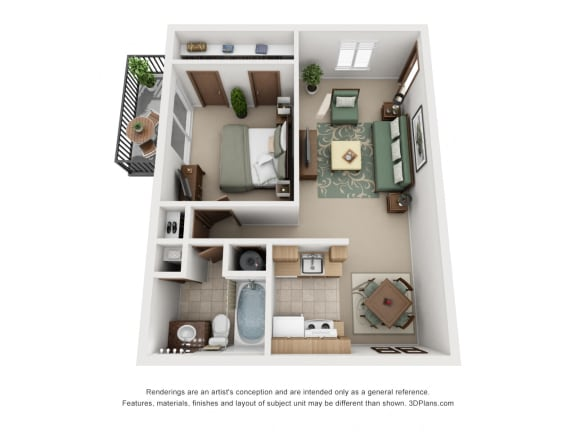 One Bedroom Maple Layout