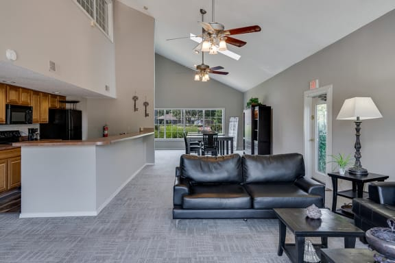 Open Concept Clubhouse with Kitchen and Lounge