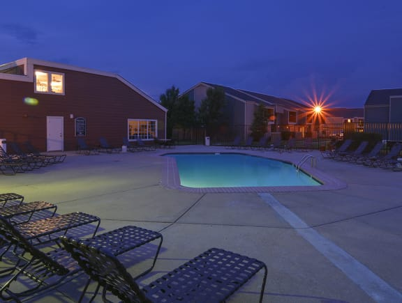 Outdoor Pool and Sundeck at Night