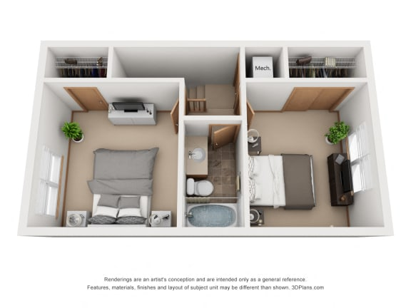 912 sq.ft. Two Bed Two Bath
