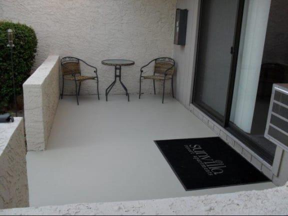 Patio at SunVilla Resort Apartments in Mesa, AZ
