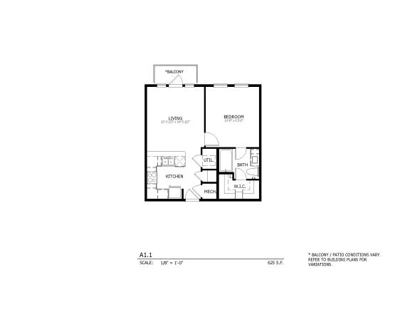 A1.1 - one-bedroom floorplan