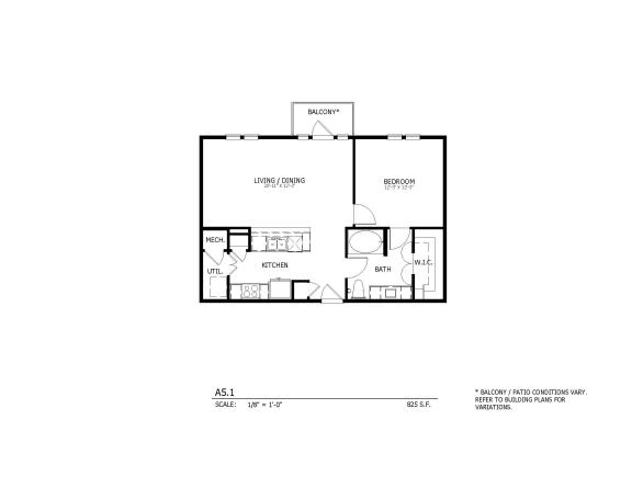 A5.1 - one-bedroom floorplan