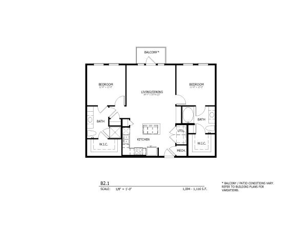 B2.1 - two-bedroom floorplan