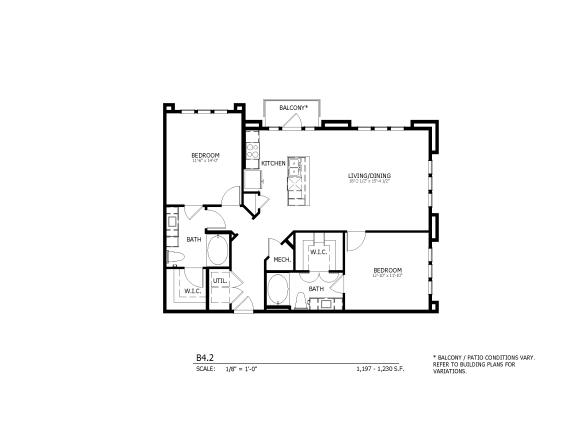 B4.2 - two-bedroom floorplan