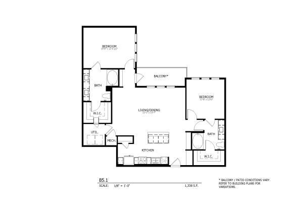 B5.1 - two-bedroom floorplan
