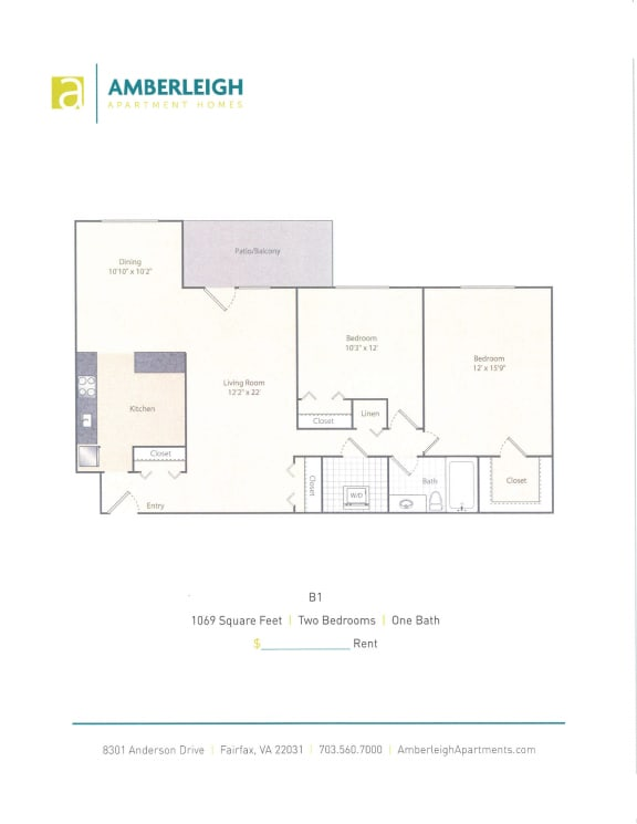 Floor Plan  Two bedroom, one bath floor plan at Amberleigh apartments in Fairfax, Virginia 22031