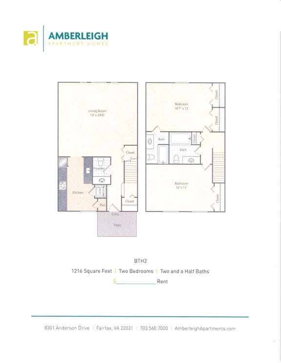 Two bedroom, two and a half bath apartment floor plan at Amberleigh townhomes in Fairfax, Virginia 22031