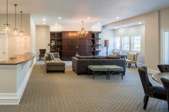 large clubhouse with lounge areas at Amberleigh apartments in Fairfax VA