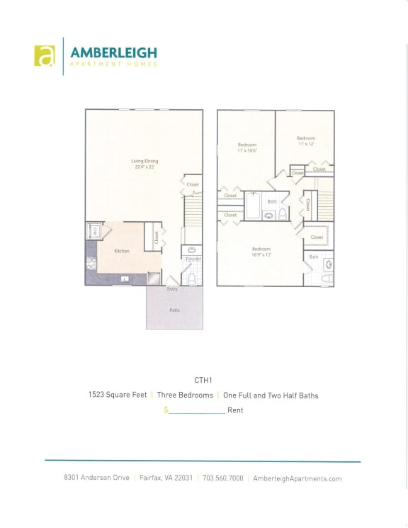 Three bedroom, one and a half bath townhome floor plan at Amberleigh apartments in Fairfax, Virginia 22031