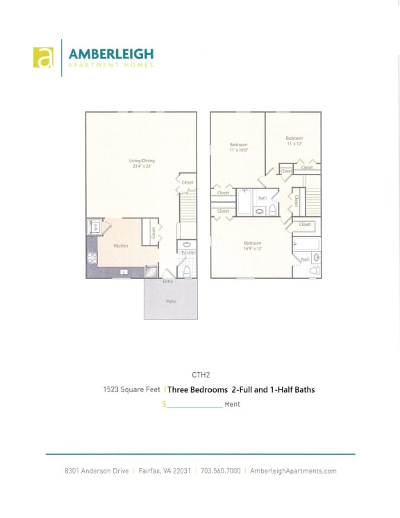 Three bedroom, two and a half bath townhome floor plan at Amberleigh apartments in Fairfax, Virginia 22031