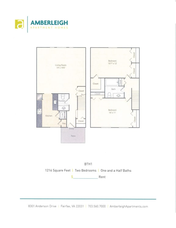 Two bedroom, one and a half bath floor plan at Amberleigh apartments in Fairfax, Virginia 22031