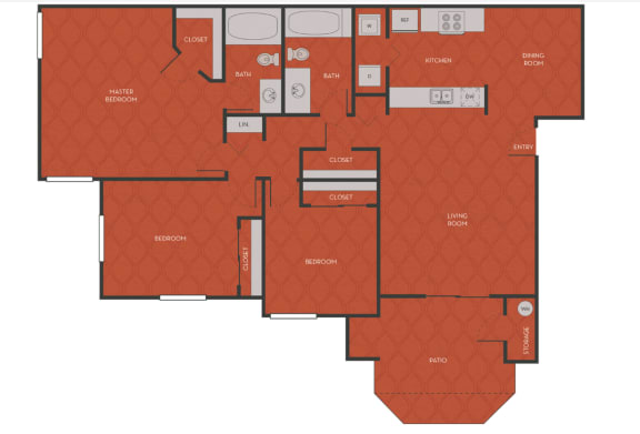 3 Bed 2 Bath Floorplan