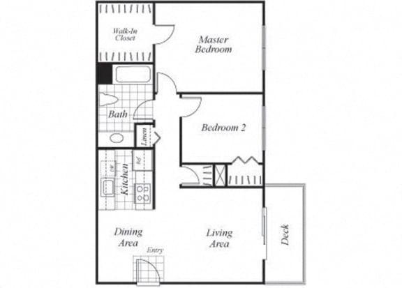 Floor Plan  Two bedroom one bathroom B1 floorplan at Timberleaf Apartments in Lakewood, CO