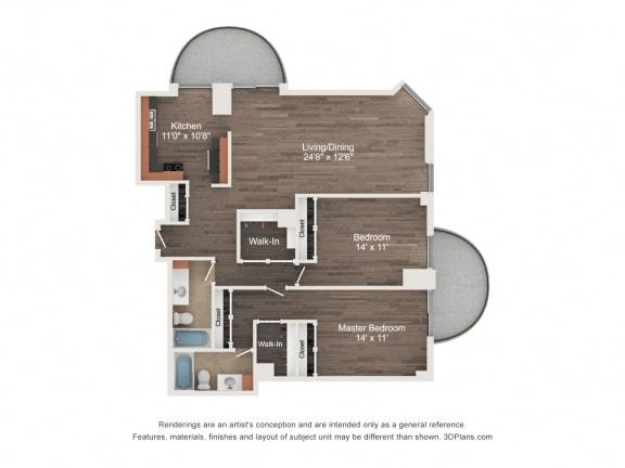 Floor Plan  2 Bedroom 01