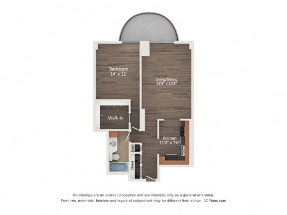 Floor Plan  1 Bedroom 03