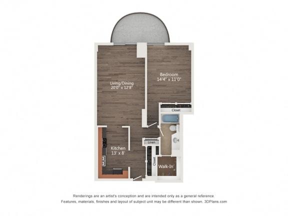 Floor Plan  1 Bedroom 04