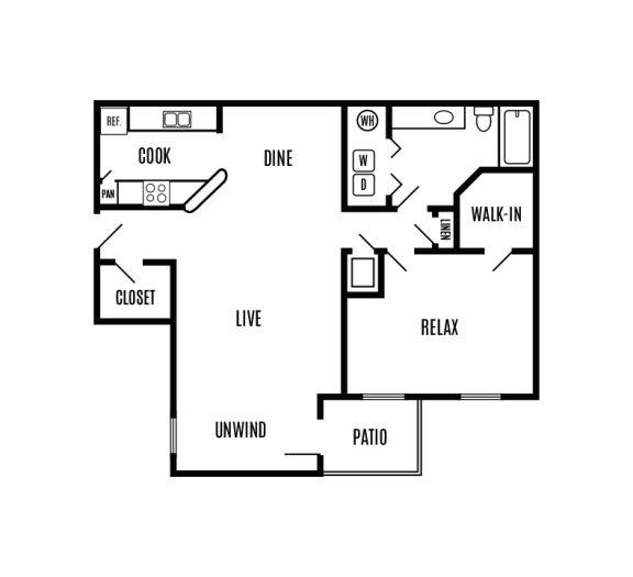 One bedroom one bath 892 sq. ft. apartment home with an outdoor patio, galley kitchen, dining area, large living room and laundry off the bathroom.
