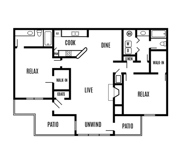 Floor Plan  Two-bedroom two-bath 1,232 sq. ft. split floorplan apartment home with an two outdoor patios, galley kitchen, dining area, large living room and walk-in closets in both bedrooms.