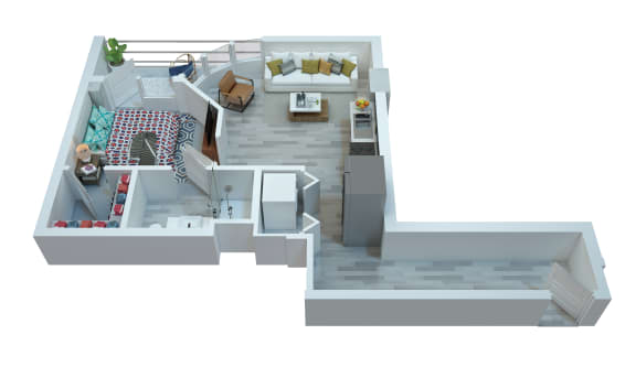 The Stewart One Bedroom Floor Plan - Aretha