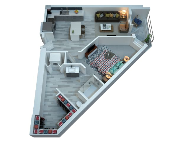 The Stewart One Bedroom Floor Plan - Carly