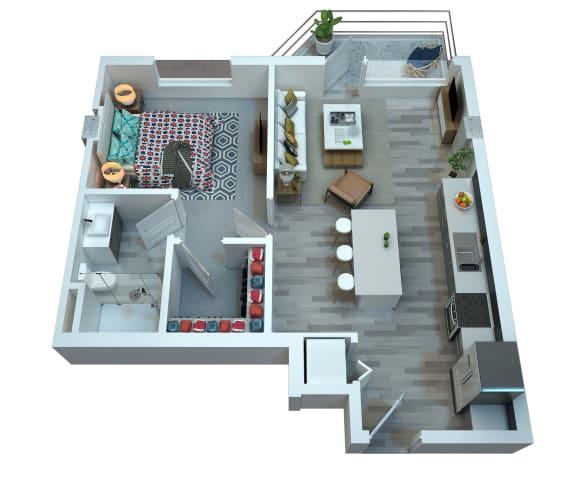 Floor Plan  The Stewart One Bedroom Floor Plan - Diana