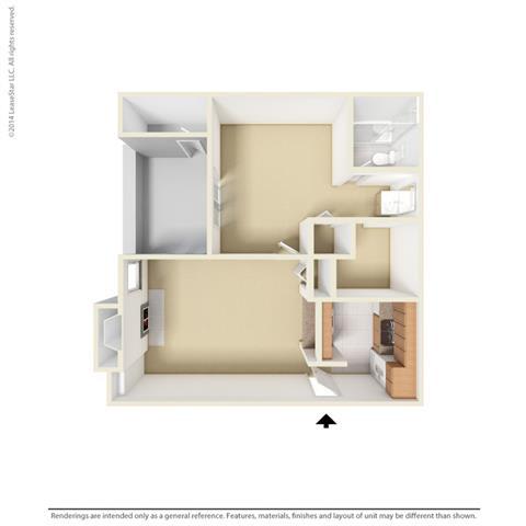 A1 - 1 bedroom 1 bath Floor Plan at Park at Caldera, Midland, Texas