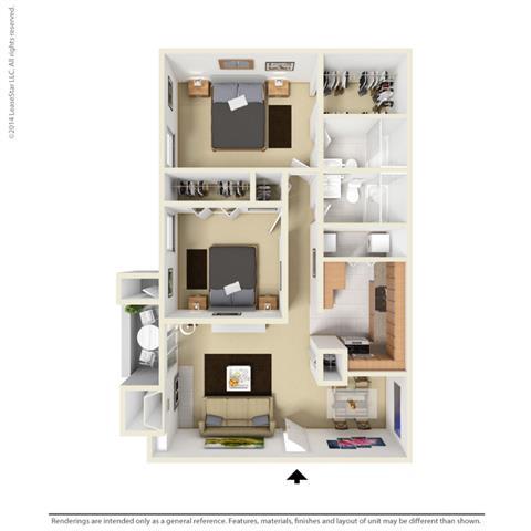 B2 - 2 bedroom 2 bath Floor Plan at Park at Caldera, Midland, TX