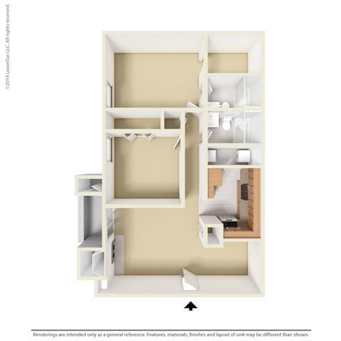 B2 - 2 bedroom 2 bath Floor Plan at Park at Caldera, Midland, 79705