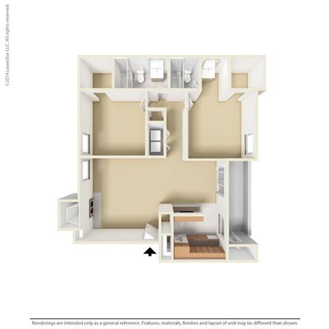 B3 - 2 bedroom 2 bath Floor Plan at Park at Caldera, Midland